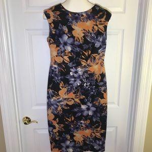 Maggy London Floral Print Straight Midi Dress